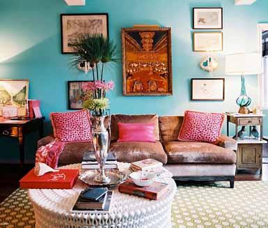 Keindahan ruang tamu dengan warna cat cerah
