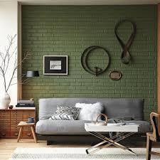 Dinding bata warna hijau yang tampak menawan.
