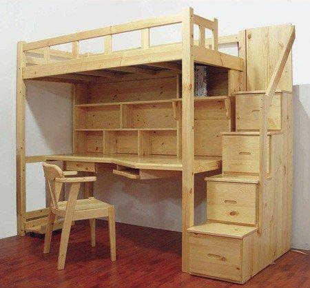tempat tidur dan meja belajar dari kayu pinus